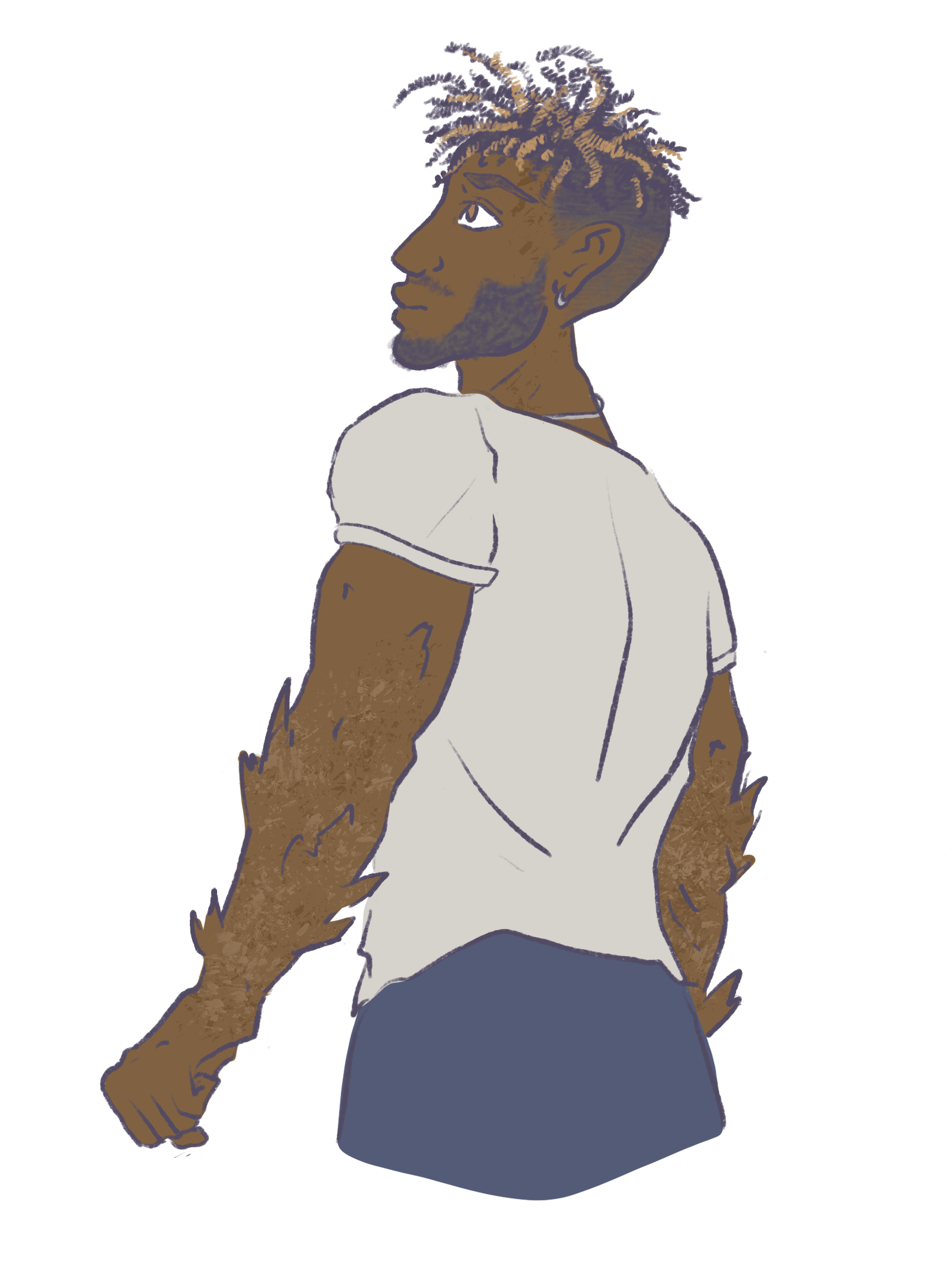 Character sketch of Giovanni from the hip up, his back to us as he looks up and to the left. His arms have only just shifted for the first time; sandy-colored spikes jut out in various directions. Sketch by GREYANGLE (click the image to be redirected to her twitter)