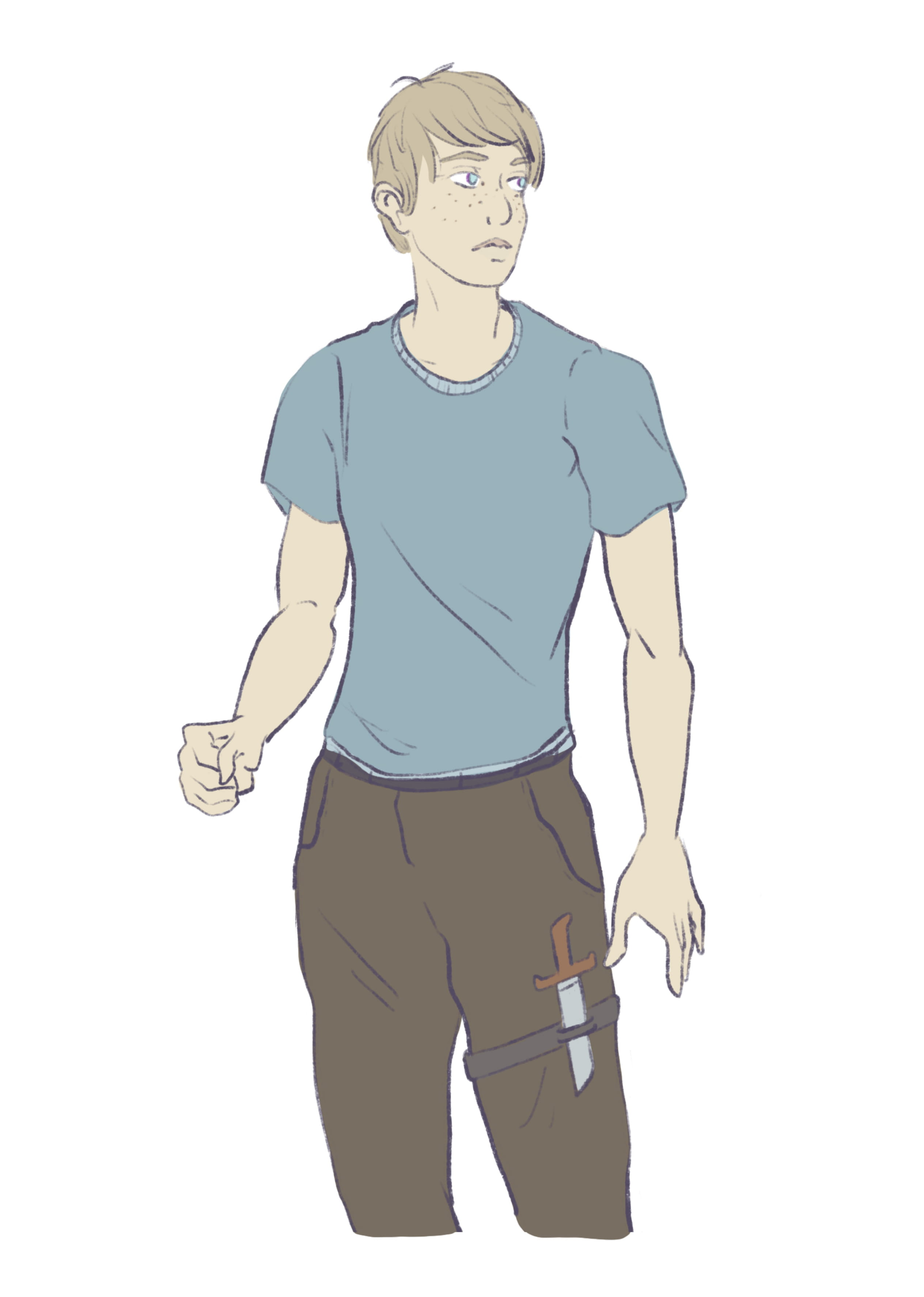 Character sketch of Jeremy in a three-quarter pose. A knife is strapped to his left leg. Sketch by GREYANGLE (click the image to go to her Instagram)
