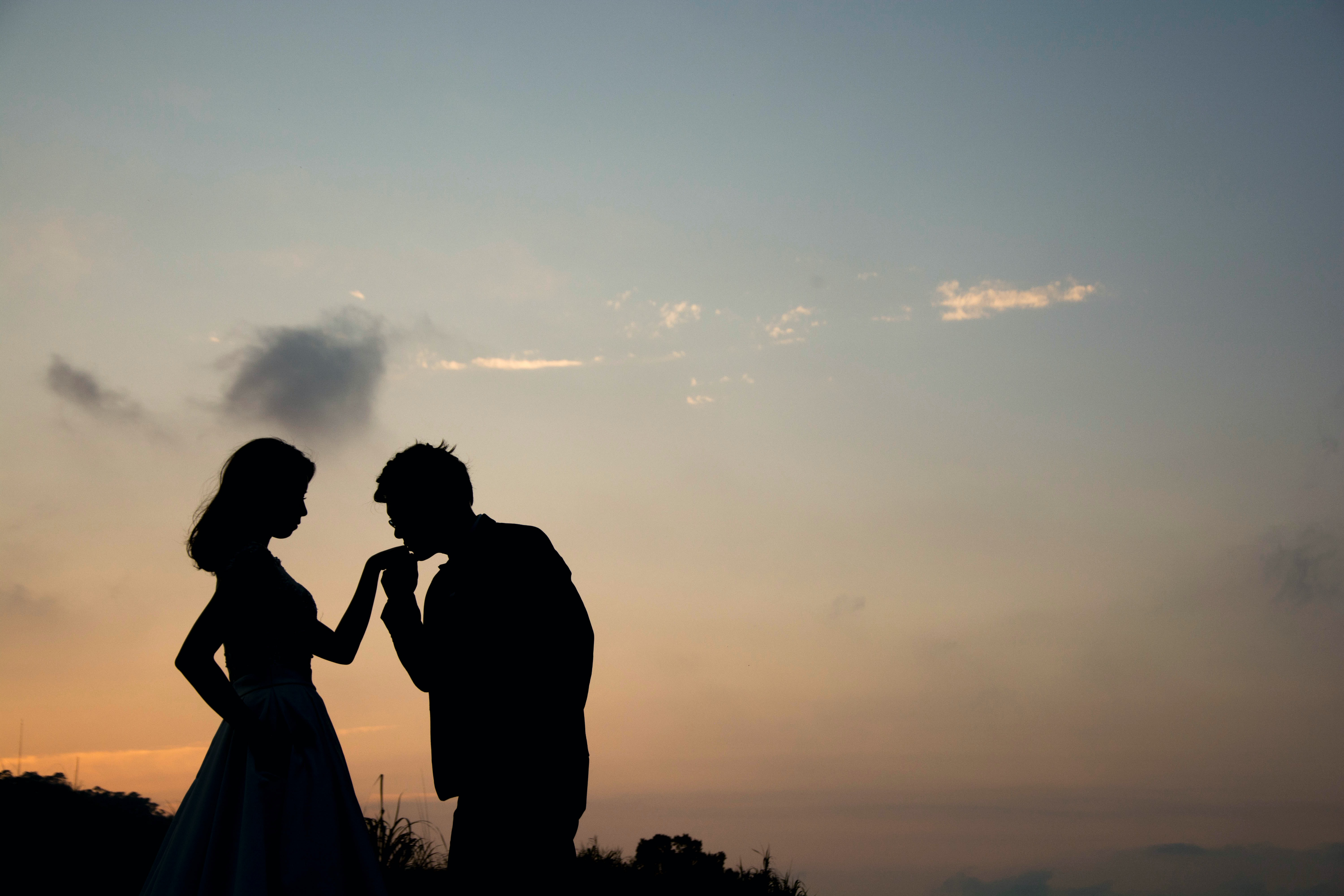 Darkened silhouetted of two young individuals, one with a feminine form and the other with no binary traits, against a sunset backdrop. The second individual has the feminine person's hand in theirs; the hand is raised to their lips, as if to signify a kiss.